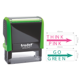 "This is the Trodat, ""Think Pink"" and ""Go Green"" Set of 2 Teacher Stamps. Perfect for teachers using the Think Pink Go Green method of feedback. Available at Novel Idea Online, Free Shipping on all orders."