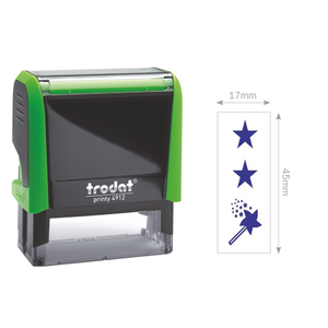 This Trodat Teacher Stamper is Self-Inking and prints 2 stars and a magic wand. Perfect for classrooms and helping students understand feedback. Available at Novel Idea Online. Free Shipping on all Orders.