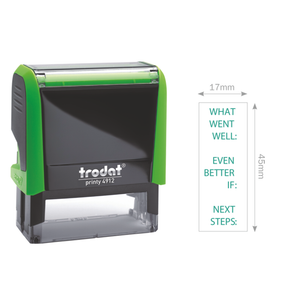 "The Trodat, Teacher Stamp with messages ""What went well?"", ""Even Better:"" and ""Next Steps:"" Perfect for giving feedback to students of all ages. Great educational aid. Free Shipping on all Orders."