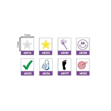 Here we can see the selection of imprints available for the Printy 4921, they include: Silver Star, Gold Star, Footprint, Tick, Thumbs Up, Magic Wand - Violet, Smiley Face - Violet, Target - Red. Available at Novel Idea Online. Free Shipping on all Orders.