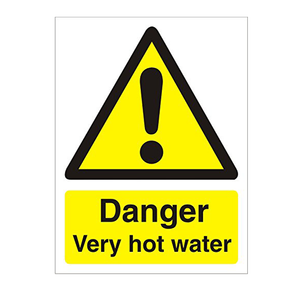 Health and Safety Sign - Danger Very Hot Water - Width 50mm X 75mm, Self Adhesive Vinyl (Pack of 5 Signs)