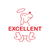 "This teacher reward stamp features a picture of a cute angelic puppy alongside the word: ""Excellent."" This stamp imprints in red. Available at Novel Idea Online. Free UK Shipping."