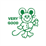 "This teacher reward stamp imprints in green and imprints a picture of a smiling mouse alongside the text ""Very Good"". Available at Novel Idea Online. Free UK Shipping."