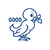 "Teacher reward stamps are brilliant for the classroom. This stamp imprints in blue the picture of a bird alongside the message ""Good."" Available at Novel Idea Online. Free UK Shipping."