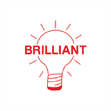 "This educational teacher stamp print a light bulb in bright red. It also prints the text ""Brilliant"" alongside it. Available at Novel Idea Online. Free UK Shipping."
