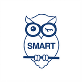 "This Teacher Reward Stamp print the image of an owl along side the text ""Smart"" in blue. Free UK Shipping. Available at Novel Idea Online."