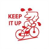 "This motivational teacher stamp imprints in red and features a young student cycling uphill on a push bike. It also includes the text ""Keep It Up."" Available at Novel Idea Online. Free UK Shipping."