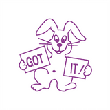 "Teacher Reward Stamps come in all shapes an sizes. This Motivation Teacher Stamp features a happy looking rabbit alongside the message: ""Got It!"" The Stamp imprints in a violet/Purple colour. Available at Novel Idea Online. Free UK Shipping."