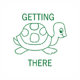 "This teacher reward stamp imprints in green and features a smiling turtle making his way towards him goals. The text reads ""Getting There."" Available at Novel Idea Online. Free UK Shipping."