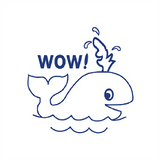 "Teacher Stamps are a great way to motivate students to succeed. This teacher stamp features a whale alongside the message ""Wow!"". The stamp imprints in Blue. Available at Novel Idea Online. Free UK Shipping."