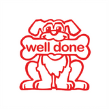 "This Teacher Reward Stamps features a Bright Red Dog holding a Bright Red Bone. The Bone Reads ""Well Done."" A Great Stamp for encouraging and motivating your students to achieve. Free UK Shipping. Available at Novel Idea Online."