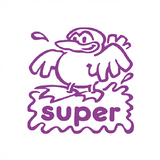 "Teacher Reward Stamps can help motivate your students in the classroom. This stamp imprint a bird in violet/purple with the words ""Super."" Free UK Shipping. Available at Novel Idea Online."