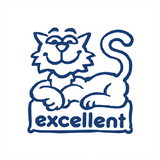 "Teacher Marking Stampers are a great way to reward your students positive achievements. This stamp imprint a picture of a cat in Blue with the wording ""Excellent"" Available at Novel Idea Online. Free UK Shipping."