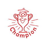 This Red Trophy, or Red Champion Stamp is a brilliant way of letting your students know that the work they're producing is of exceptional quality. Available at Novel Idea Online. Free UK Shipping.