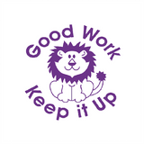 "This Teacher Marking Stamper is a brilliant way to reward your students hard work. It features a picture of a lion, in purple, alongside text that reads: ""Good Work. Keep it Up."" Available at Novel Idea Online. Free UK Shipping."