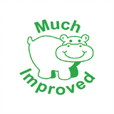 "This Green Hippo with ""Much Improved"" is the perfect way to inspire and motivate your classroom. Using motivational teacher reward stamps can help your students succeed at school. Available at Novel Idea Online. Free UK Shipping."
