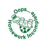 "This teacher reward marking stamp features the text ""Oops...Homework Incomplete"" and includes a tortoise turned over in his shell. This stamp imprint in green and is perfect for motivating your students to achieve. Available at Novel Idea Online. Free UK Shipping."