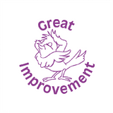 "Teacher Marking Stampers are a brilliant way to motivate and reward students for good work. This stamp imprint and image of a happy bird alongside the text: ""Great Improvement."" The stamp imprints in purple. Available at Novel Idea Online. Free UK Shipping."