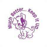 "Teacher Reward and Marking Stampers are a great way to inspire students. This stamp imprints in purple with an adorable puppy, the message imprinted reads: ""Much Better...Keep It Up."" Available at Novel Idea Online. Free UK Shipping."