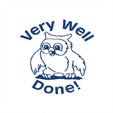 "This Teacher Reward Marking Stamp print in blue and also prints the image of an owl. Alongside this it imprints the message ""Very Well Done!"" Available at Novel Idea Online. Free UK Shipping."