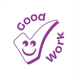 "This Teacher Motivating Reward Stamp prints and image of a purple tick with a smiley face alongside the wording: ""Good Work."" Available at Novel Idea Online. Free UK Shipping."