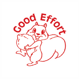 "This Teacher Reward Marking Stamp displays and imprints a squirrel carrying a nut in red. The wording reads ""Good Effort."" Available at Novel Idea Online. Free UK Shipping."