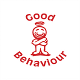"This Teacher Marking Stamp imprint in red the image of a student with a halo upon his head. The Text Reads ""Good Behaviour."" Available at Novel Idea Online. Free UK Shipping."