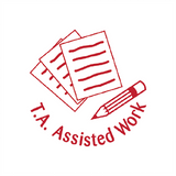 "This Teacher Stamp is a great way to show that your students' work has received assistance from a Teacher Assistant. The Stamp Print the image of paper and pencil alongside ""T.A. Assisted Work"" in Red. Available at Novel Idea Online. Free UK Shipping."