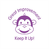 "This teacher marking stamp imprints monkey's smiling face alongside the words ""Great Improvement. Keep It Up. A brilliant way to motivate your students. Available at Novel Idea Online. Free UK Shipping."