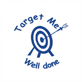 "This Teacher Motivating Reward Stamp imprints an arrow in a bullseye alongside the wording: ""Target Met. Well Done."" The stamp imprints in Blue. Available at Novel Idea Online. Free UK Shipping,"