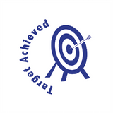 "This Teacher Marking Stamp Imprint an image of a target with an arrow in the bulls-eye. The Reward Stamp prints in Blue ink and features the writing ""Target Achieved."" Available at Novel Idea Online. Free UK Shipping."