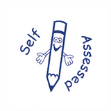 "This happy looking stamp imprints alongside the message ""Self Assessed"" in Blue Ink. A fantastic Teacher Reward Marking Stamp. Available at Novel Idea Online. Free UK Shipping."
