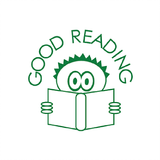 This little guy must be reading a very terrifying book because he looks terrified. This good reading stamp should hopefully encourage your students to know that similar terror awaits them by reading books. Free UK Shipping. Available at Novel Idea Online.