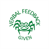 "This handsome spider is a brilliant stamp for motivating and rewarding students in your class. It prints in green alongside the message ""Verbal Feedback Given."" Available at Novel Idea Online. Free UK Shipping."