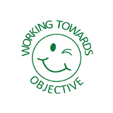 This stamp is a brilliant teacher marking reward stamp and prints a winking smiley face in green. Alongside this smiley face is the text Working Toward Objective. A great way to encourage students in your classroom. Available at Novel Idea Online. Free UK Shipping.