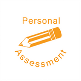 "This Teacher Reward Marking Stamper Prints in Orange and imprints an image of a pencil alongside the writing: ""Personal Assessment."" Available at Novel Idea Online. Free UK Shipping."