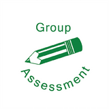"This Reward Teacher Marking Stamp Prints in Green alongside the image of a Pencil. The Stamp also Imprint the wording: ""Group Assessment."" Available at Novel Idea Online. Free UK Shipping."