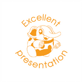 "This adorable elephant imprint in orange alongside the text ""Excellent Presentation"". Teacher Marking Reward Marking Stamps can help your students improve their grades. Free UK Shipping. Available at Novel Idea Online."
