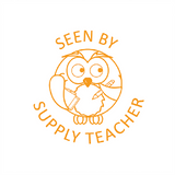 "Teacher Reward Stamper are a brilliant way to inspire and motivate your students. This stamp imprints and owl in orange alongside the text message ""See By Supply Teacher."" Available at Novel Idea Online. Free UK Shipping."