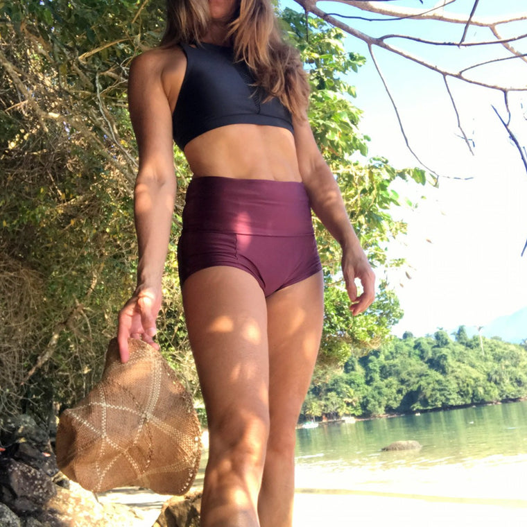 Bossa Nova yoga shorts - Bordeaux