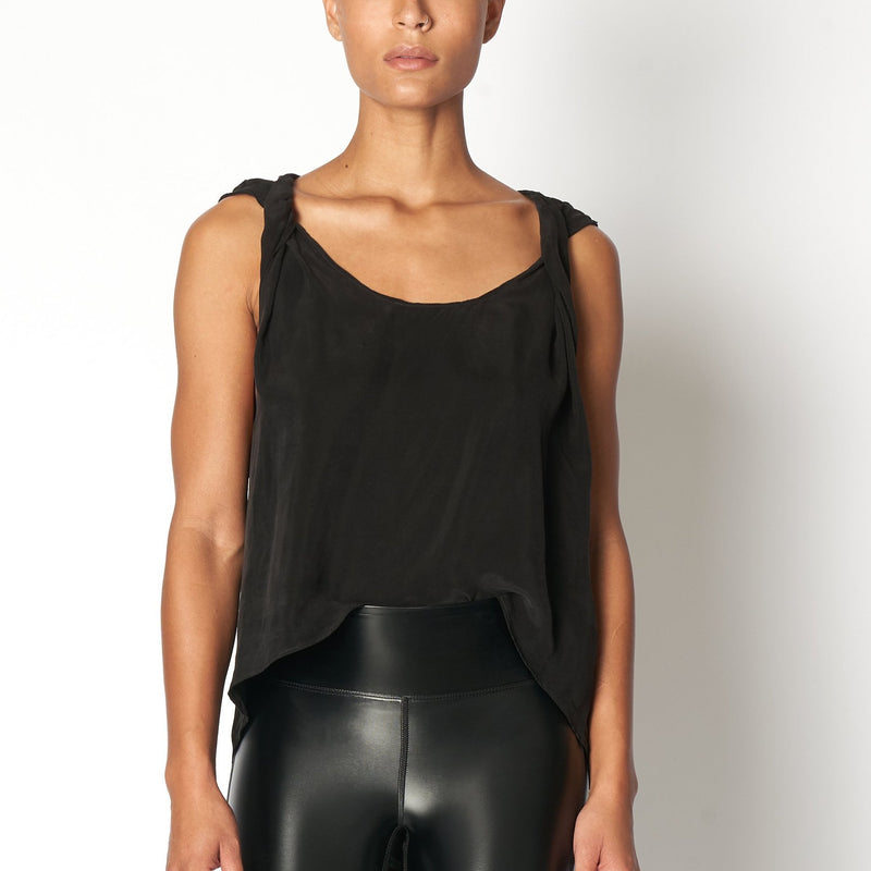Cupro Twist Tank Top - Black