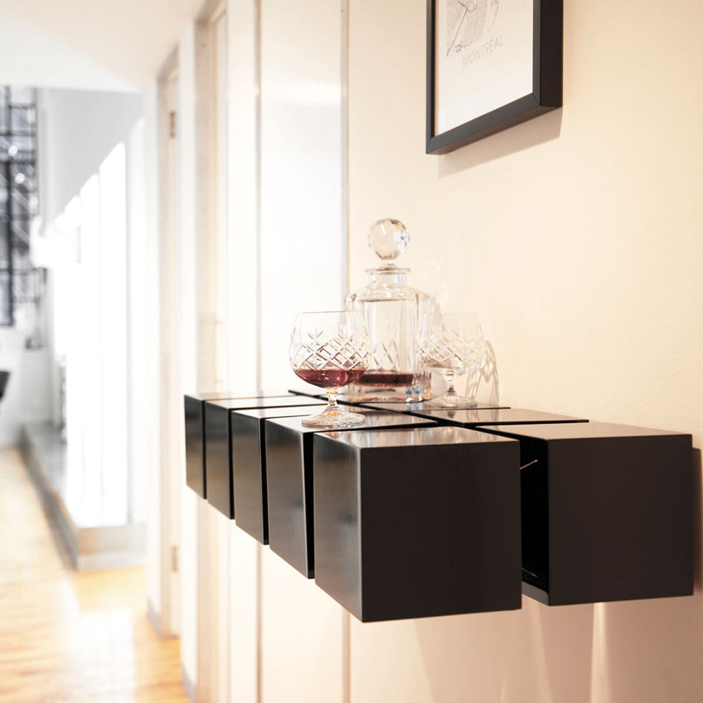 Straight shelf, black lacquer
