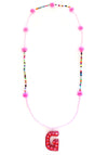 Pink Pom Pom Initial Necklace