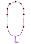 Purple Pom Pom Initial Necklace