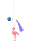 Flamingo Resin Necklace + Bookmark