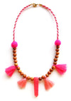 Hot Pink Crystal Resin Wooden Mala Necklace