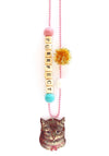 """Purrfect"" Cat with Bow Push-Pop Necklace"