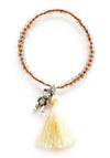 Teddy Bear Crystal Brown Custom Charm Tassel Bracelet