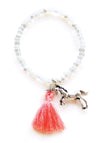 Unicorn White Crystal Custom Charm Tassel Bracelet
