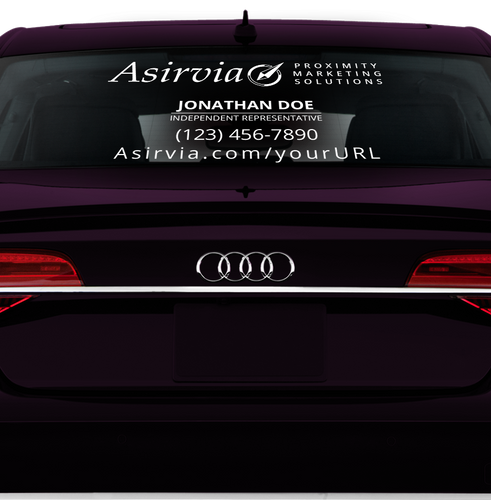 Asirvia Rear Window Decal - Phone & Website